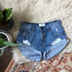 One Teaspoon x Free People Bandit Denim Shorts